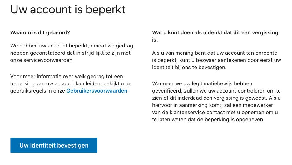 LinkedIn account geblokkeerd