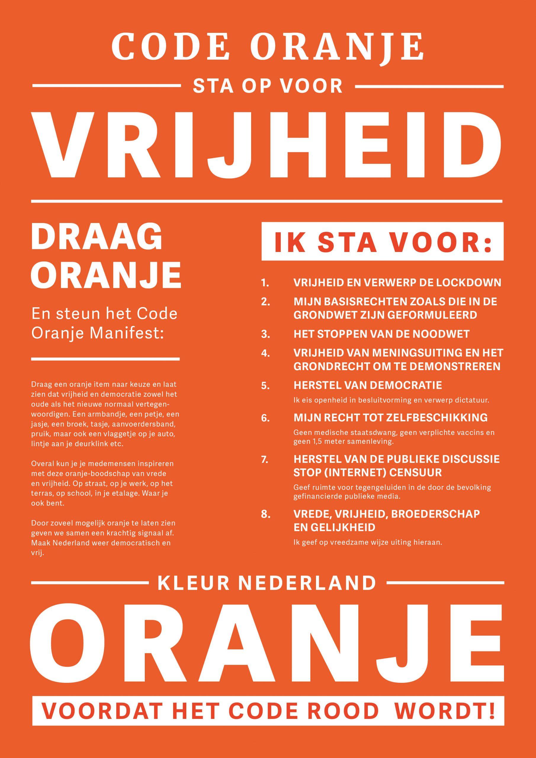 Code Oranje - sta op voor Vrijheid
