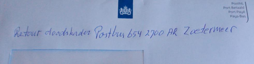 vaalblauwe envelop