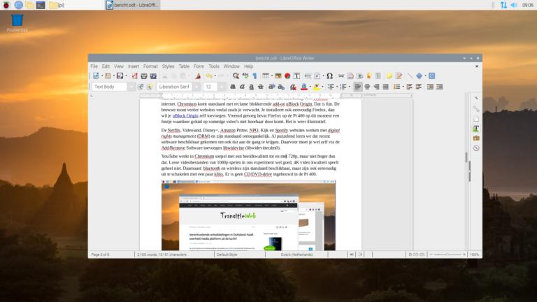 Schermafbeelding met LibreOffice